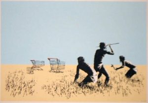 Banksy, food, hunters, trolley, shopping cart