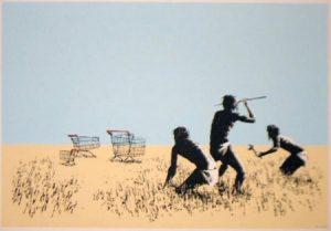 Banksy, food, hunters, trolley, shopping cart